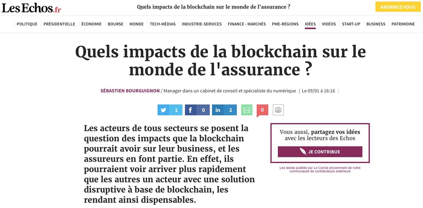 impacts de la blockchain sur le monde de l'assurance