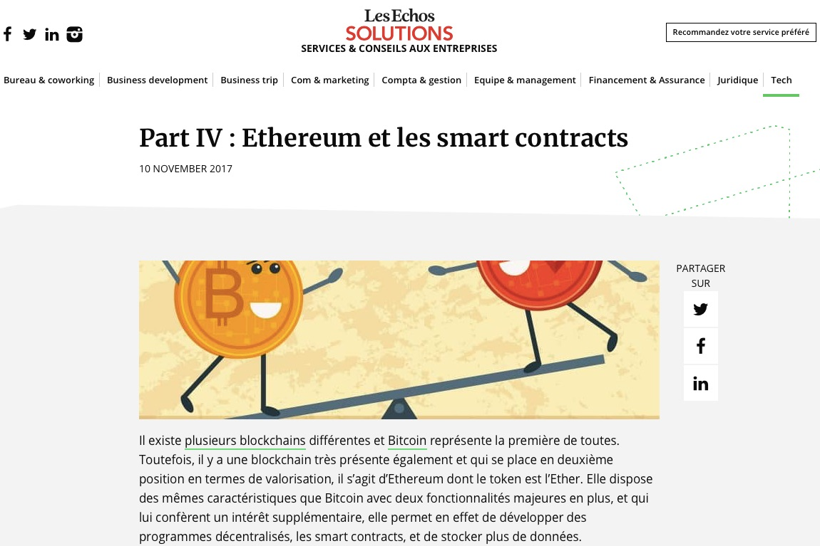 ethereum et les smart contracts
